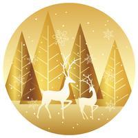 Priorità bassa del cerchio della foresta di inverno con le renne.