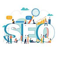 SEO, search engine optimization, ricerca di parole chiave, ricerca di mercato piatta illustrazione vettoriale