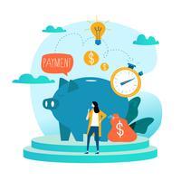Servizi finanziari e di affari, prestito di soldi, progettazione piana dell'illustrazione di vettore di pianificazione del bilancio. Investimento a lungo termine, deposito di conti di risparmio, progettazione di fondi pensione per grafica mobile e web