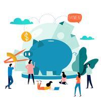 Servizi finanziari e di affari, prestito di soldi, progettazione piana dell'illustrazione di vettore di pianificazione del bilancio