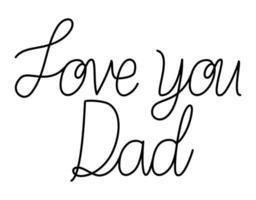 ti amo papà carta isolata vettore