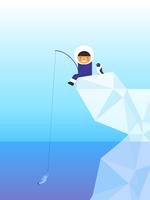 Illustrazione vettoriale di pesca eschimese