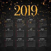 Modello di disegno del nuovo anno 2019 moderno calendario