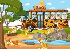 bambini in automobile turistica guardando il gruppo di leopardo nella scena dello zoo vettore