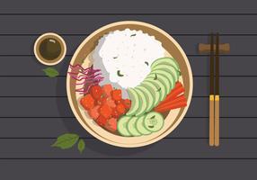 Illustrazione piana di vettore della ciotola del Poke dell'alimento biologico
