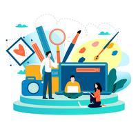 Studio di design, progettazione, disegno, fotografia vettore