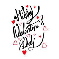 Disegno di testo di calligrafia di carta felice giorno di San Valentino