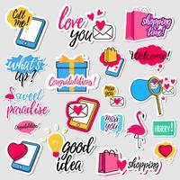 Collezione di adesivi di social network design piatto