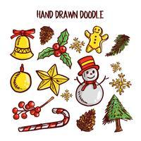Set di arte di Natale Doodle. Illustrazione vettoriale