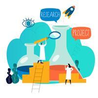 La ricerca, il laboratorio di scienza, l'esperimento scientifico, la prova, la progettazione piana dell'illustrazione di vettore di ricerca del laboratorio per la grafica mobile e di web
