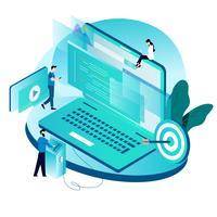 Concetto isometrico moderno per la codifica, la programmazione, lo sviluppo di siti Web e applicazioni vettore
