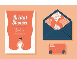 Pacchetto di vettore di doccia nuziale invito