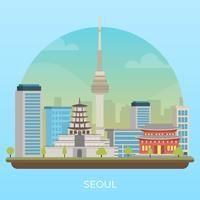 Illustrazione moderna piana di vettore della città di Seoul