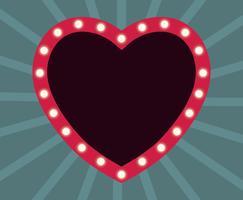 Cornice cuore al neon vettore