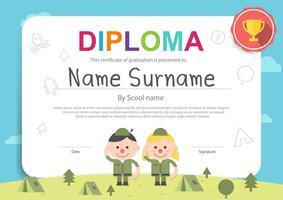 Campeggio bambini simpatico cartone animato modello di certificato orizzontale