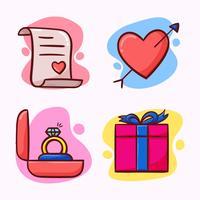 set di elementi di San Valentino vettore
