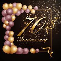 70 anni anniversario celebrazione sfondo banner design con lu vettore