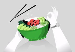 Illustrazione piana di vettore sano della ciotola del poke dell'alimento