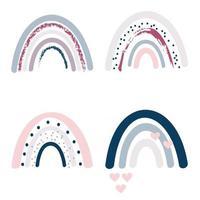raccolta vettoriale di arcobaleni boho nei colori rosa pastello, grigio e blu navy, elementi isolati su sfondo bianco. vivaio art design, per la stampa su vestiti e tessuti per bambini, decorazioni per la casa.