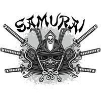 segno del teschio samurai vettore