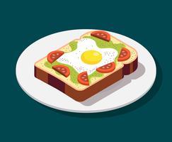 Illustrazione di toast di avocado vettore