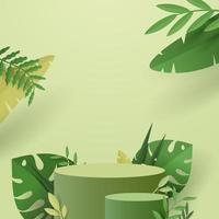 scena minimale astratta con forme geometriche. podio cilindrico in sfondo verde vettore