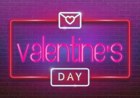 Logo al neon, etichetta, emblema. Buon San Valentino. Insegna al neon, insegna luminosa, insegna leggera.