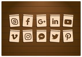 Set di icone di carta di social media