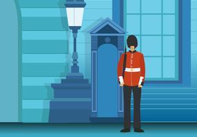 Esercito britannico nell'illustrazione di vettore del fondo della città di Londra
