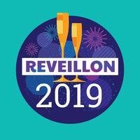 Reveillon con Champagne Glasses e sfondo di fuochi d'artificio a Capodanno vettore