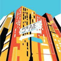 5 avenue sSgn a New York City con Abstract Skyline vettore