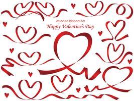 Set di nastri rossi disposti in forme di cuore.