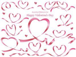 Set di nastri rosa disposti a forma di cuore.