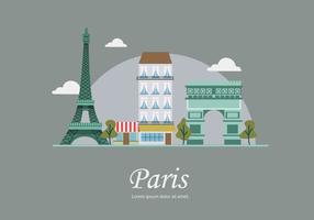 Illustrazione piana di vettore della costruzione del punto di riferimento di Parigi