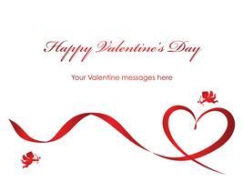 Modello di carta di San Valentino con un nastro rosso, cupidi e lo spazio del testo. vettore