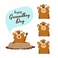 Illustrazione felice di vettore di giorno della marmotta