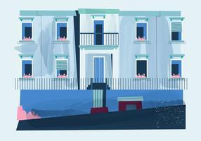 Illustrazione piana di stile dell'acquerello di vettore esterno della finestra della casa dell'annata