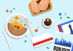 Illustrazione di vettore di vista superiore dell'alimento di Parigi