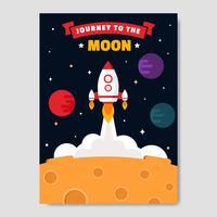 Vettore del manifesto del viaggio alla luna