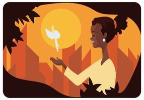 Donna ed uccello bianco nel vettore di mese della storia nera