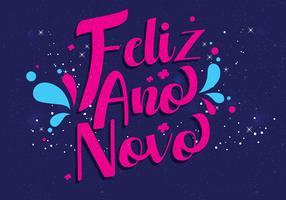 Vettore dell'iscrizione della mano di Feliz Ano Novo