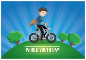 Adolescente in sella a una bicicletta vettore