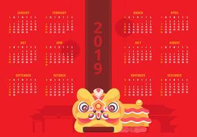 2019 Calendario cinese del nuovo anno stampabile vettore