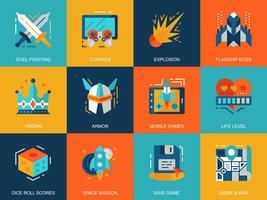 Set di icone di gioco mobile per il tempo libero vettore