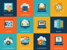 Set di icone tecnologia cloud