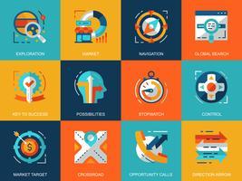 Set di icone di elementi aziendali