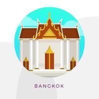Illustrazione piana di vettore del punto di riferimento della città di Bangkok del grande palazzo