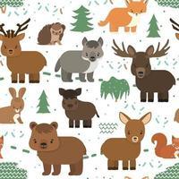 Reticolo senza giunte con gli animali della foresta. riccio orso cervo volpe lupo cinghiale maiale lepre alce nella foresta su sfondo bianco, stile piatto vettore