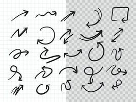 set di raccolta di frecce doodle disegnato a mano vettore