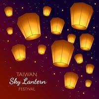 Vettore di festival delle Lanterne del cielo di Taiwan